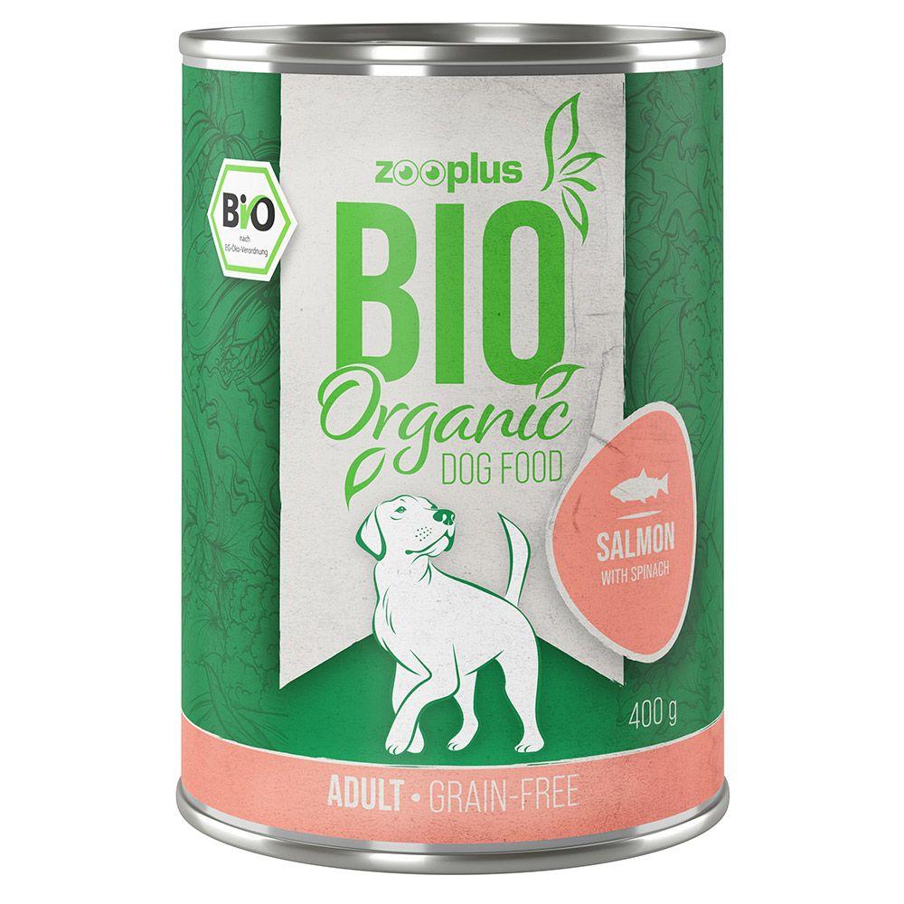 6x800g zooplus Bio saumon, épinards - Pâtée pour chien