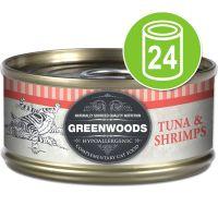 24 x 70 g Greenwoods Adult Kattenvoer Gemixt Voordeelpakket