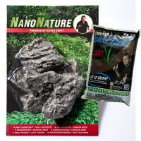 NanoNature Mini Landscape Set - 5 rocks + 3 litres NatureSoil brown, fine