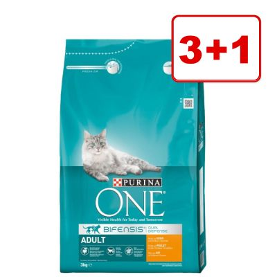 3 + 1 kaupan päälle! 4 x 3 kg Purina ONE -kissanruokaa - Adult Chicken & Whole Grain Cereals