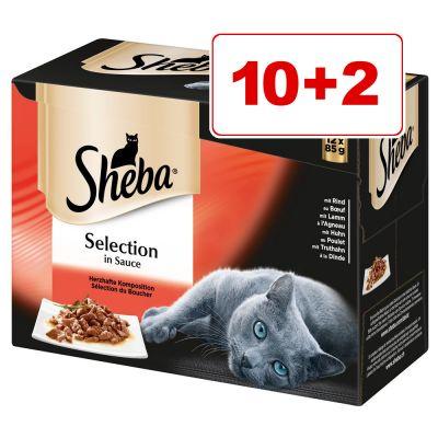 Sheba kissanruoka 12 x 85 g: 10 + 2 kaupan päälle! - Selection in Sauce