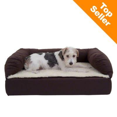 Ortopedisk hundsäng rektangulär – brun/beige – B 115 x D 70 x H 32 cm