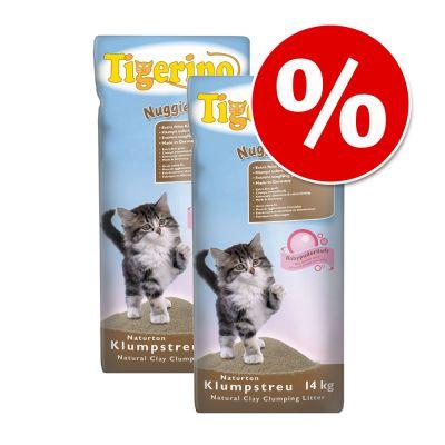 2 x 14 kg Tigerino Nuggies kattsand – Ekonomipack: 2 x 14 kg
