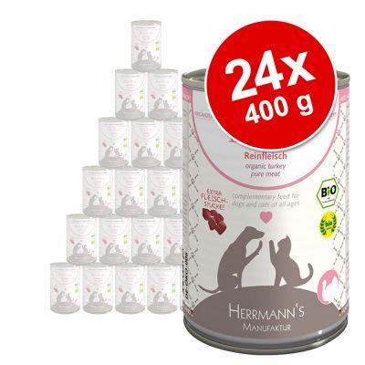 Herrmanns Meat -säästöpakkaus 24 x 400 g - luomuankka