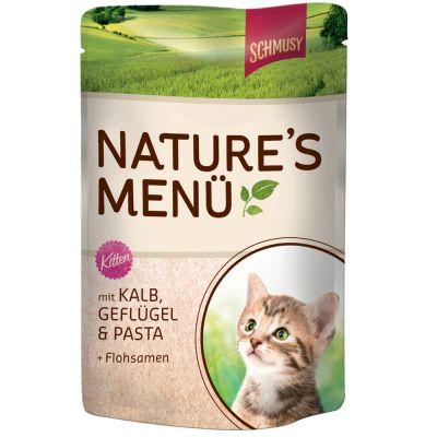 Schmusy Nature Kitten i portionspåsar 12 x 100 g – Kalv, fågel, pasta & psyllium fröskal