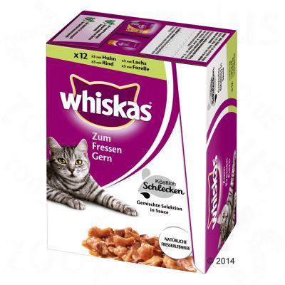 Whiskas Lick & Bite 12 x 85 g – Kyckling, oxkött, lax & forell