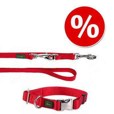 HUNTER Vario Basic: kaulapanta + talutushihna, punainen - kaulapannan koko L + talutushihna 200 cm/20 mm