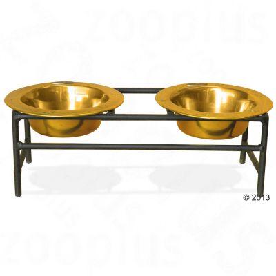 Platinum Pets Modern Diner dubbelskål – 24 Karat Gold – 2 x 175 ml, 12,5 cm, höjd 10 cm