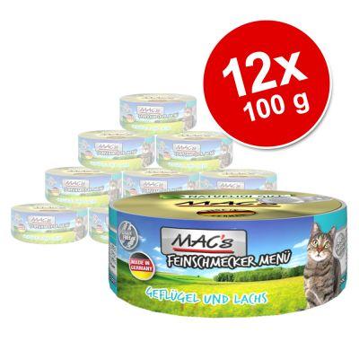 MAC´s Cat Gourmet -säästöpakkaus 12 x 100 g - siipikarja & lohi