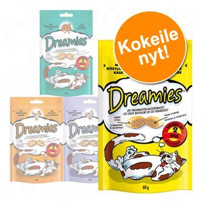 "Dreamies ""Dreamland"" -kokeilupakkaus 4 x 60 g - juusto, kana, lohi, naudanliha"