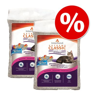 Dubbelpack Extreme Classic kattsand till lågpris (2 x 15 kg) – Lavendel