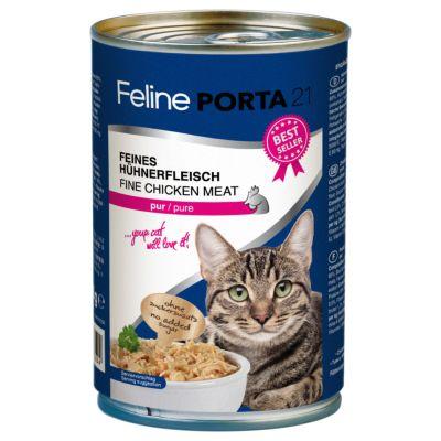 Feline Porta 21 -kissanruoka 6 x 400 g - Sensitive: kana & riisi (viljaton)