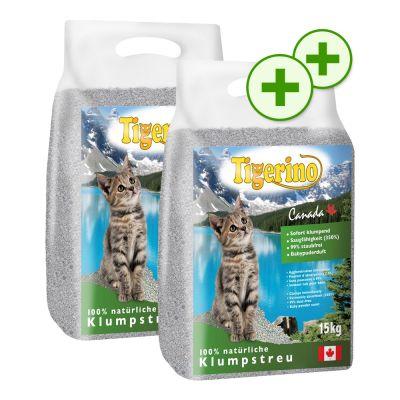 Dubbla bonuspoäng för 2 x 15 kg Tigerino Canada kattströ – 2 x 15 kg med babypuderdoft