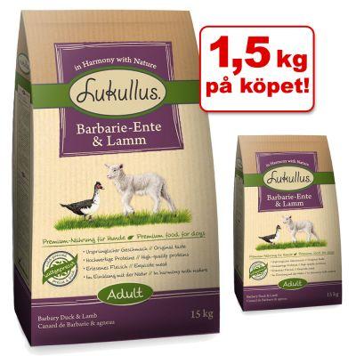 15 kg + 1,5 kg gratis! 16,5 kg Lukullus torrfoder – Adult Myskand & lamm