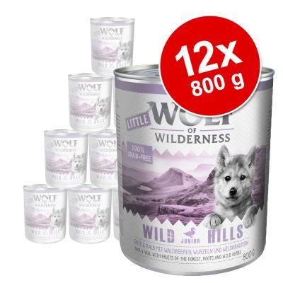 Pack Ahorro: Little Wolf of Wilderness 12 x 800 g - Blue River Junior, con pollo y salmón