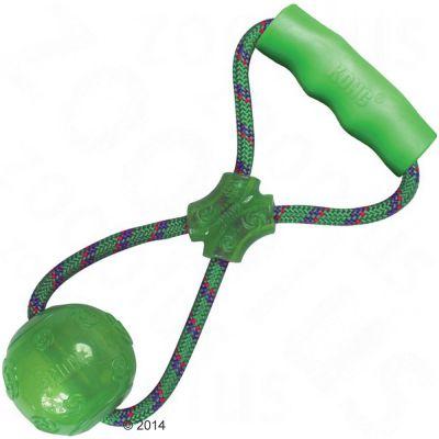 KONG Squeezz Ball kahvalla - L: noin 32,5 cm, pallon Ø 8 cm, kahva 11 x 2 cm