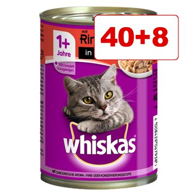 48 x 400 g Whiskas 1+ märkäruoka: 40 + 8 kaupan päälle! - 1+ in Jelly, kana