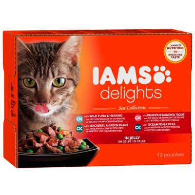 iams-delights-adult-in-gelei-12-x-85-g-kattenvoer-land-sea-mix
