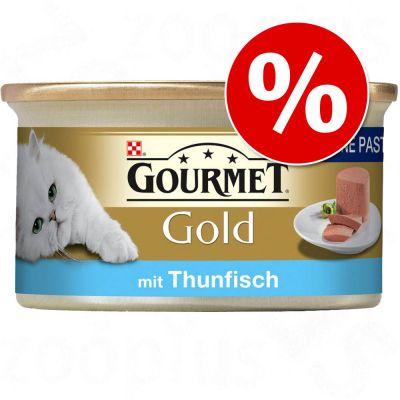 Extra voordelig! 72 x 85 g Gourmet Gold Katten Natvoer Gold Fijne Hapjes met Zalm Kip