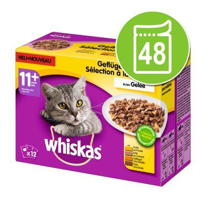 Whiskas 11+ -säästöpakkaus 48 x 100 g - kalavalikoima hyytelössä