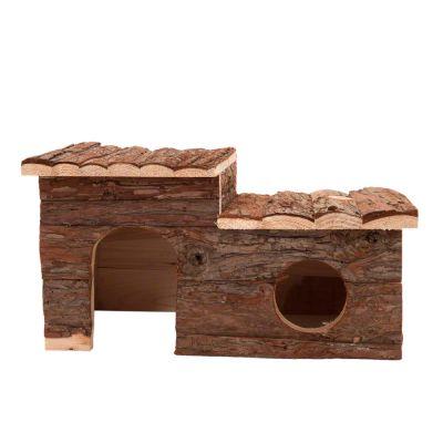 Timmerstuga för smådjur med terrass – 43 x 28 x 22 cm (bredd x djup x höjd)