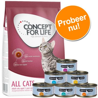 Probeerpakket: 400 g Concept for Life + 6 x 70 g Cosma Nature Kattenvoer - British Shorthair + Cosma Nature
