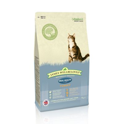 james-wellbeloved-adult-cat-oral-health-kalkoen-kattenvoer-dubbelpak-2-x-4-kg