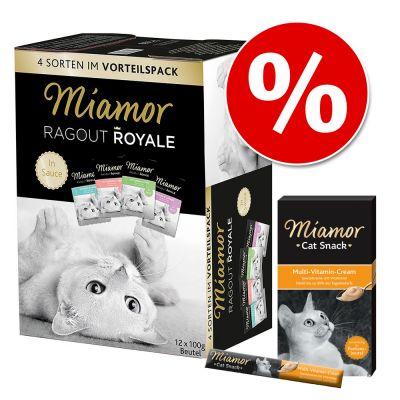 Pakettihintaan: Miamor Ragout Royale -valikoima 12 x 100 g + Multi-Vitamin Cream - Multi-Mix Sauce + Multi-Vitamin Cream