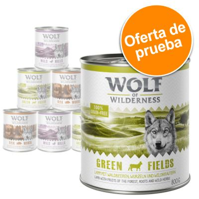 Pack de prueba Wolf of Wilderness 300 g/ 400 g / 800 g - 6 x 400 g en salchicha: cordero, pato y Canadá