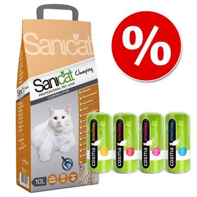 Sanicat Clumping -kissanhiekka 10 l + Cosma Snackies pakettihintaan! - 10 l kissanhiekkaa + Cosma Snackies 62 g