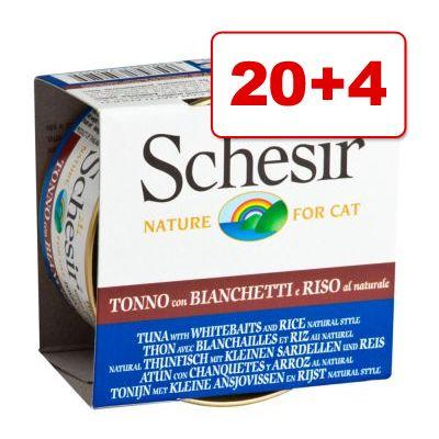 Schesir Natural with Rice kissanruoka 24 x 85 g: 20 + 4 kaupan päälle! - tonnikala, kanafile & riisi