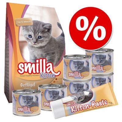 Smilla Kitten -ensipakkaus - 1 kg kuivaruokaa + 6 x 200 g vasikanmakuista märkäruokaa