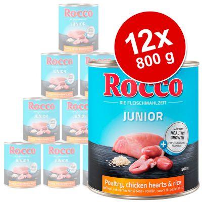 Rocco Junior 12 x 800 g - kalkkuna & vasikansydän + riisi