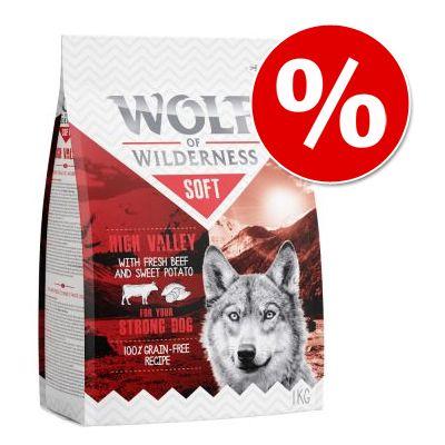 """Kokeile nyt: 1 kg Wolf of Wilderness Adult """"Soft & Strong"""" -kuivaruokaa erikoishintaan! – Green Fields – Lamb"""